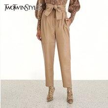 ยาวกางเกงดินสอแฟชั่นฤดูใบไม้ร่วงใหม่เสื้อผ้า Streetwear PU TWOTWINSTYLE
