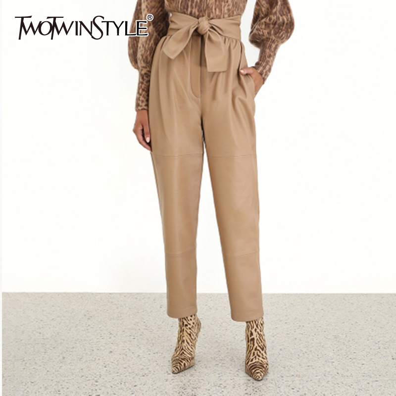 TWOTWINSTYLE PU Leather Bowknot Women's Trousers High Waist Lace Up Streetwear Long Pencil Pants Autumn Fashion New Clothes 2019