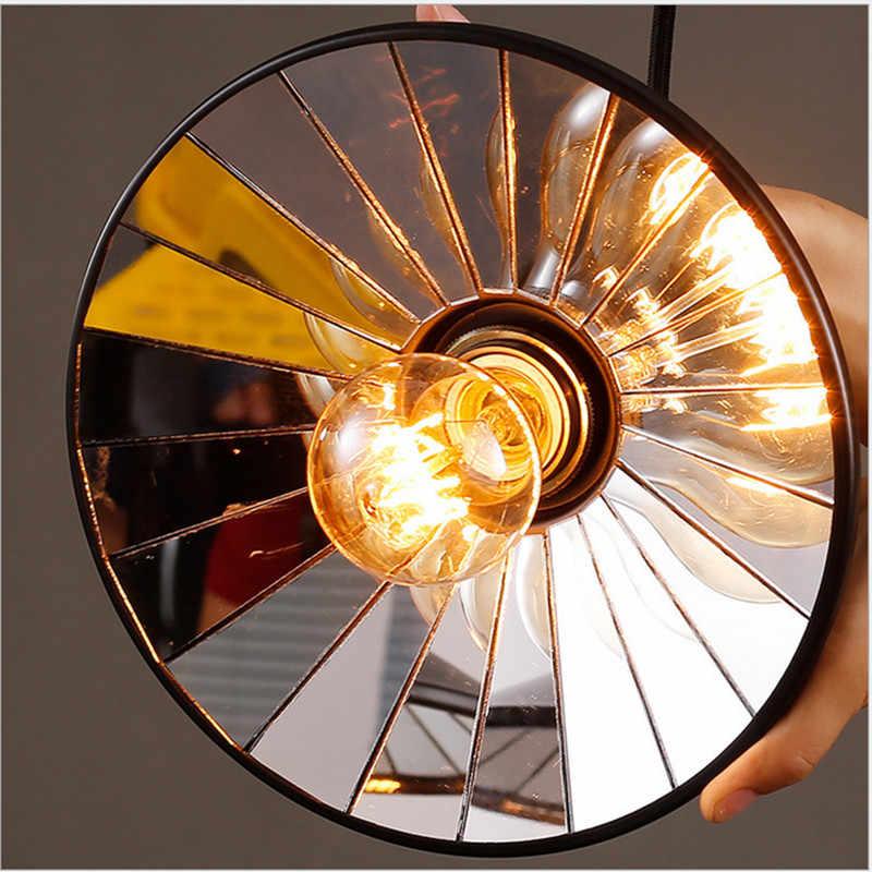 3Way מראה תליון אור צל E27 רטרו בציר תליון מנורת גלגלת נשלף תליון אורות לופט תליית 110 V-220 V