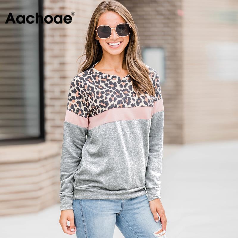 Aachoae 2020 Autumn Sweatshirt Women Fashion Leopard Print Patchwork Hoodie Casual Stripe Long Sleeve Pullover Ladies O Neck Top 1