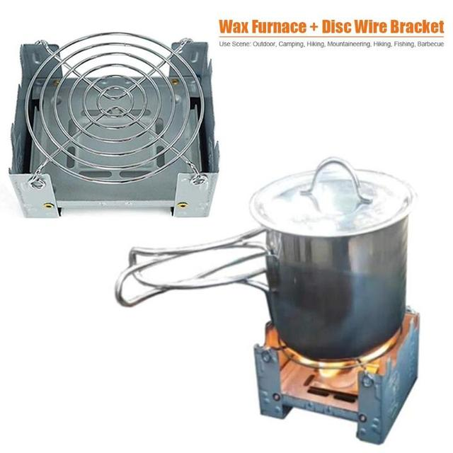 Camping Wood Stove Portable Outdoor Camping Foldable Wax Furnace with Stainless Steel Disc Wire Bracket 2