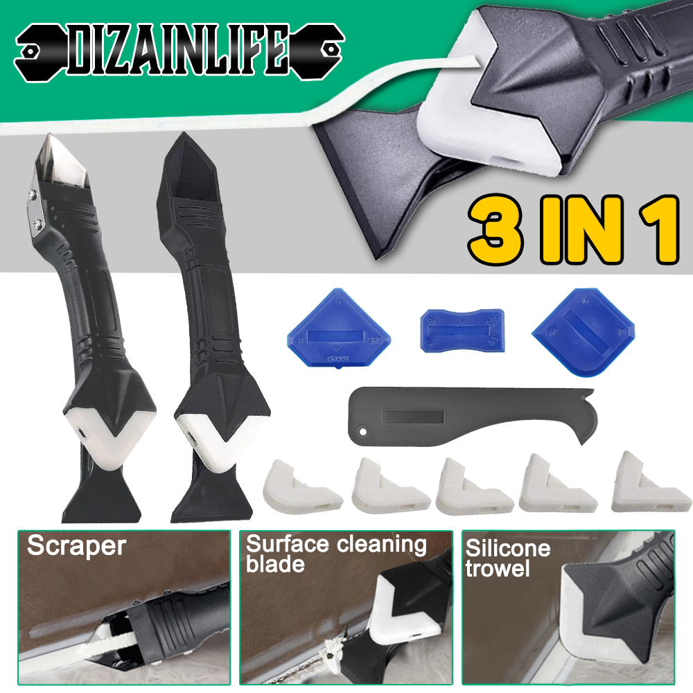 New 3 in 1 Silicone Sealant Remover Tool Kit Set Scraper Caulk Mould Smooth Finisher Scraper Grout Removal Useful Tools For Home