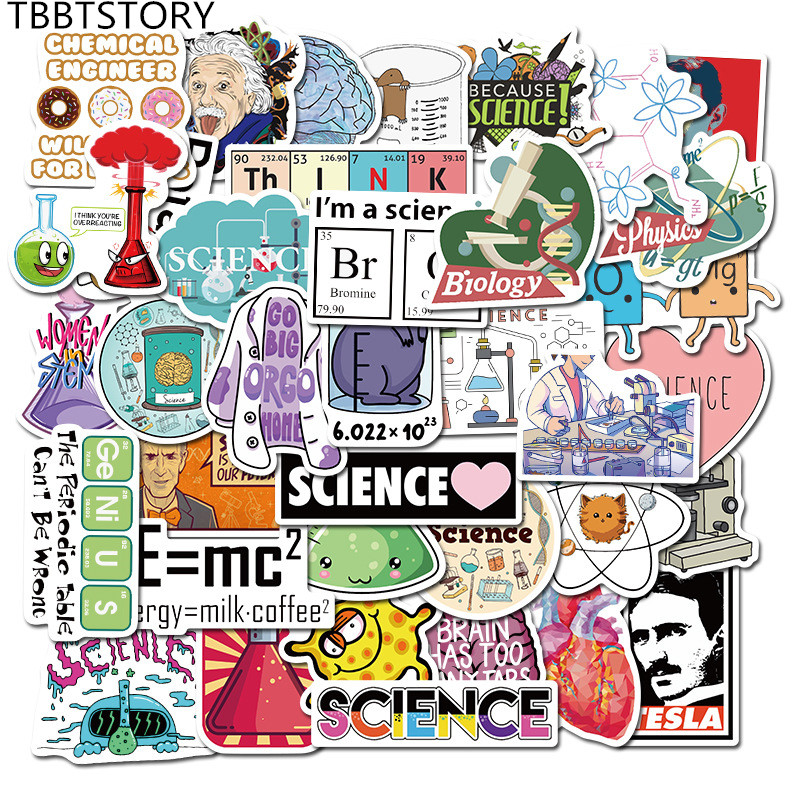 50Pcs Science Lab Chemistry Funny Stickers For Car Skateboard Guitar Laptop Notebook Luggage Decor Stationery Graffiti Sticker