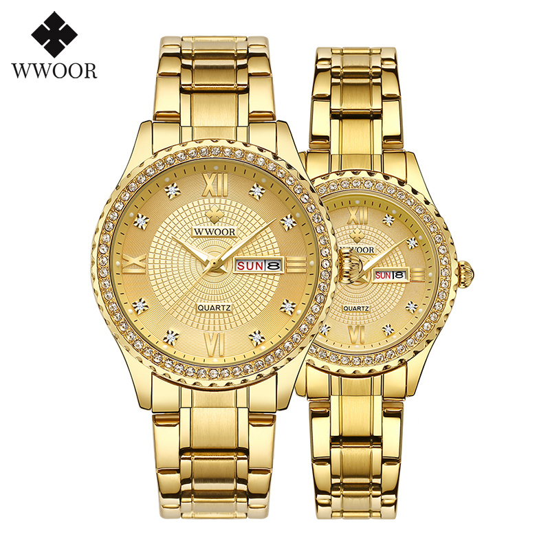 WWOOR Hot Fashion Lovers Watches Men Women Watches Stainless Steel Quartz Watch Women's Dress Couple Watch Clock Gifts Parejas