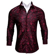 Barry.Wang Red Paisley Bright Silk Shirts Men Autumn Long Sleeve Casual  Flower Shirts For Men Designer Fit Dress Shirts BCY 01
