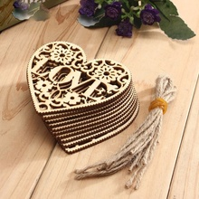 METABLE 10pcs/Lot Wedding Decoration Laser Cut Wood Heart Embellishment Wooden Shape Craft Marriage