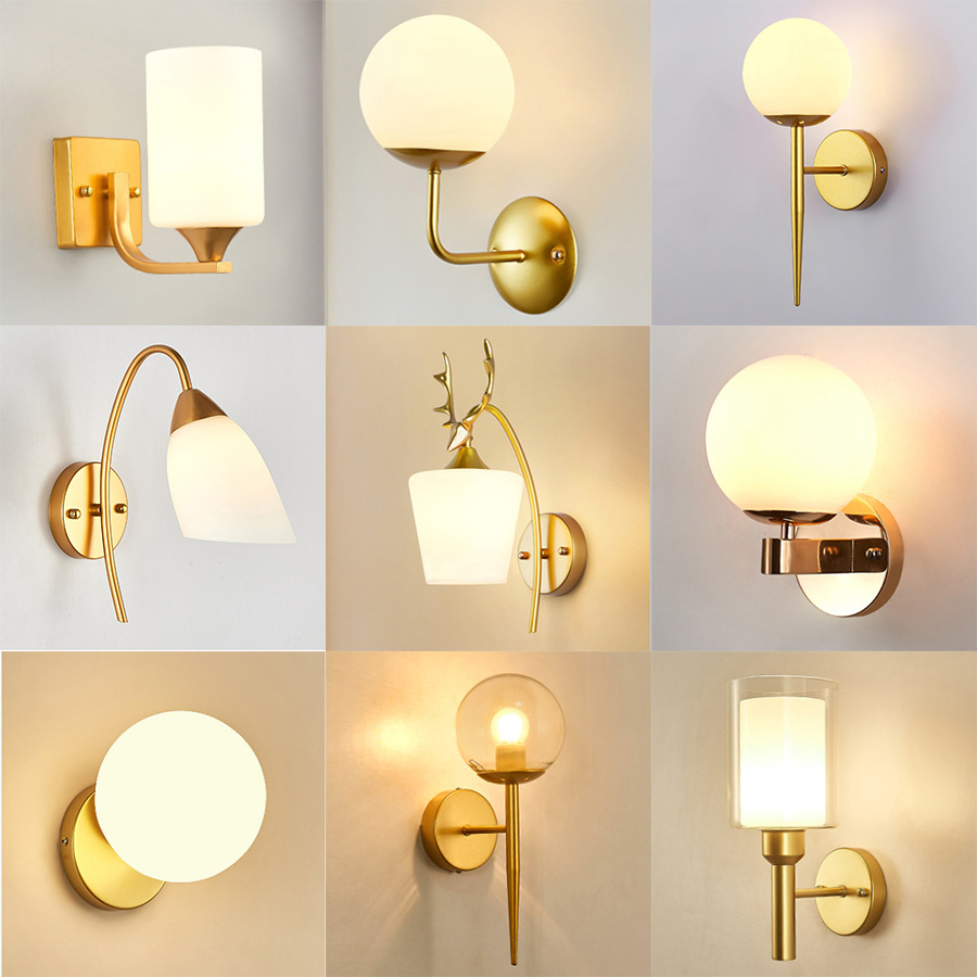 Decorative Led Wall Lamp Iron Night Reading Beside Lamp Home Stairs Vintage Loft Sconce Wall Lights Glass Ball Gold Black E27