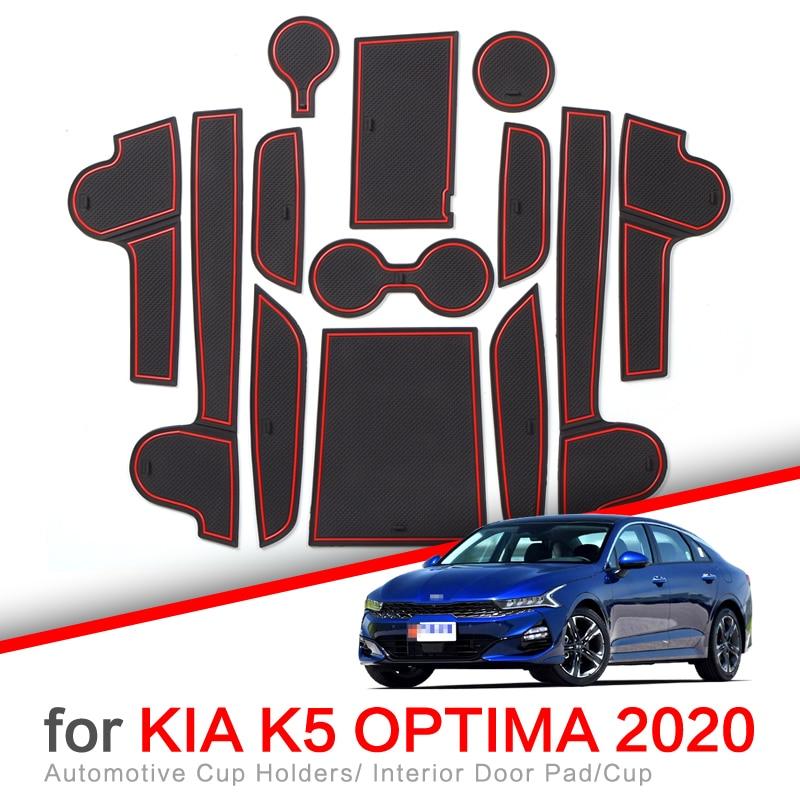 ZUNDUO Anti-Slip Gate Slot Cup Mat for Kia K5 Optima 2020 2021 GT Accessories Door Groove Non-slip Pad Car sticker Coaster
