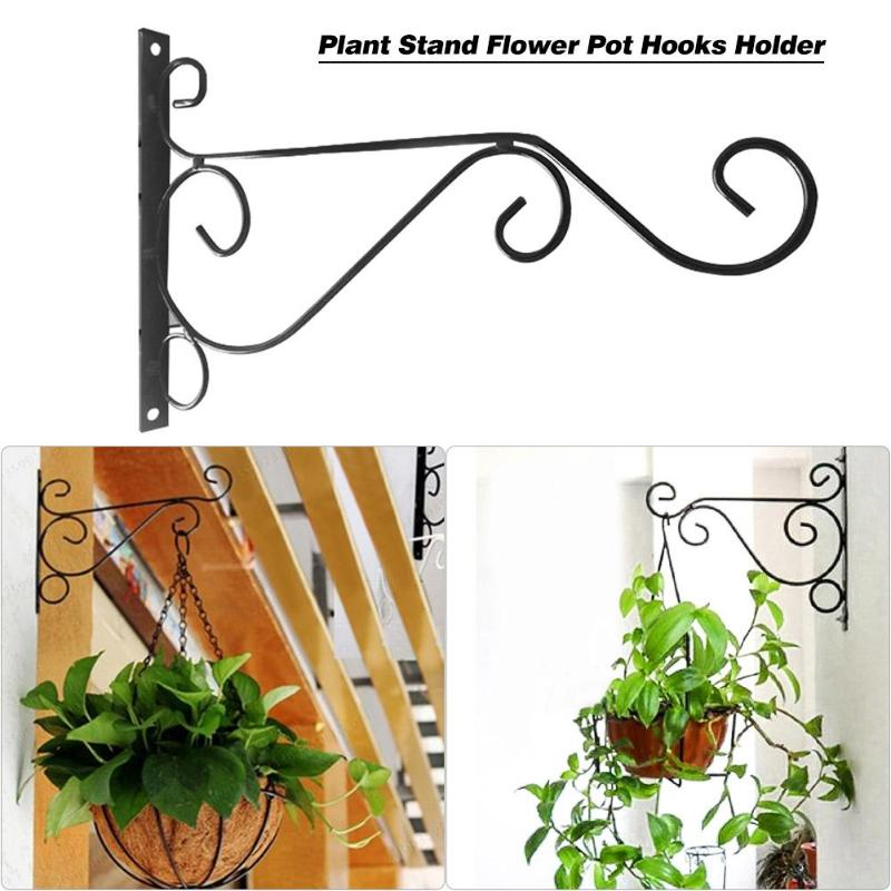 European Style Balcony Plant Flower Pot Wrought Iron Hooks Holder Wall-Mounted Hanging Basket Bracket Garden Decoration