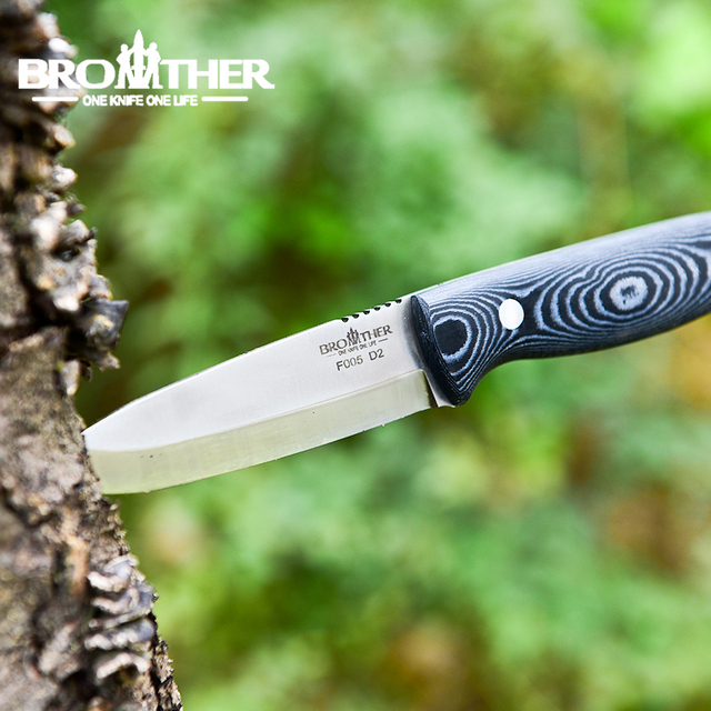 [BROTHER F005] 61HRC D2 blade Fixed Blade knife Bushcraft Knives Straight Tactical Hunting Camping high quality EDC tool 4