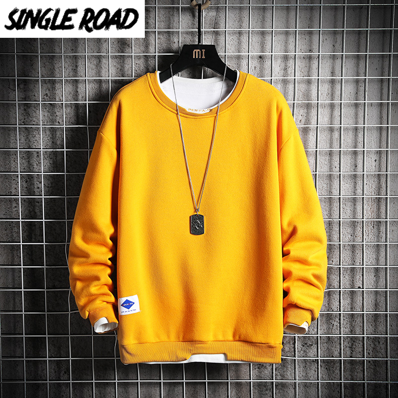 SingleRoad Oversized Crewneck Sweatshirt Men 2020 Spring Solid Hip Hop Japanese Streetwear Yellow Hoodie Men Sweatshirts Male