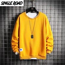 Sweatshirt Men Yellow Hoodie Oversized Crewneck Singleroad Japanese Streetwear Solid