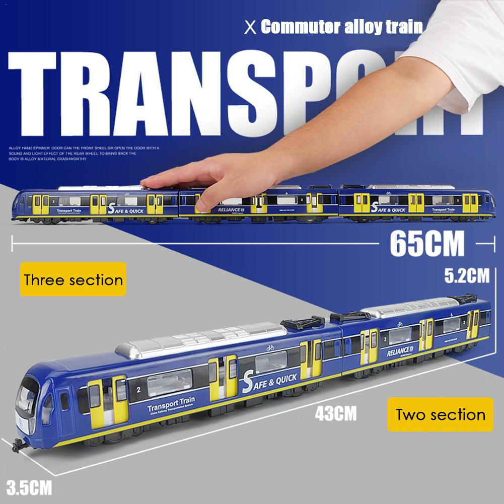 Simulation 1: 87 Train Toy Pull Back Car Set Alloy High-speed Rail Toys Subway Train Light Rail Model For Kids Gifts