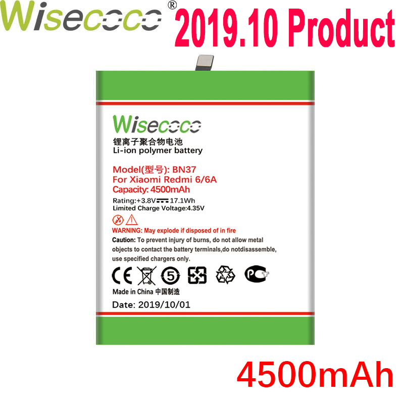 WISECOCO 4500mAh BN37 Battery For Xiaomi Redmi 6/6A Mobile Phone In Stock Latest Production Battery With Tracking Number(China)