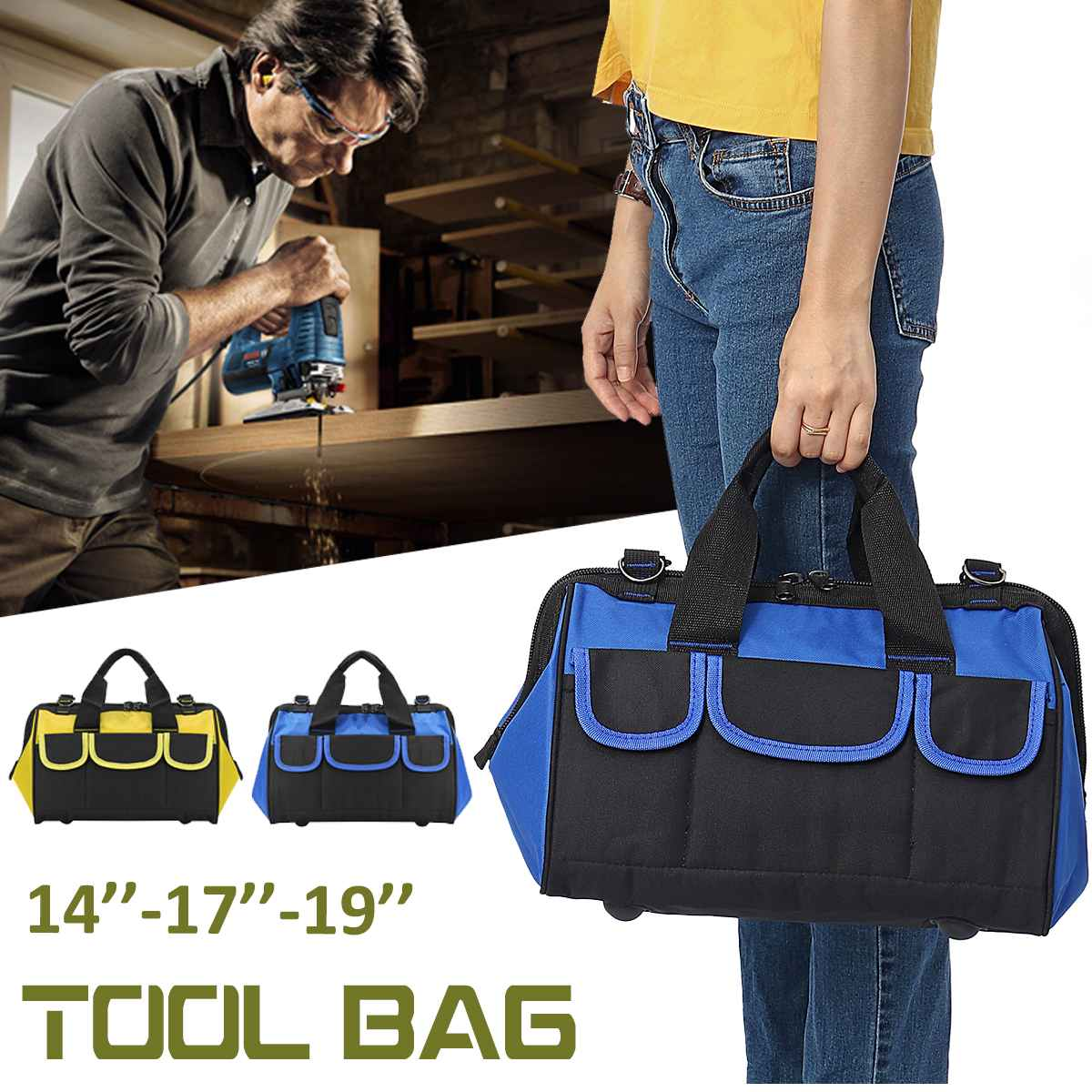 Large Capacity 14-17-19 Inch Tool Bag Storage Sundries Pouches Shoulder Bag Case Handbag Screwdriver Wrench Drill Organizer Bags