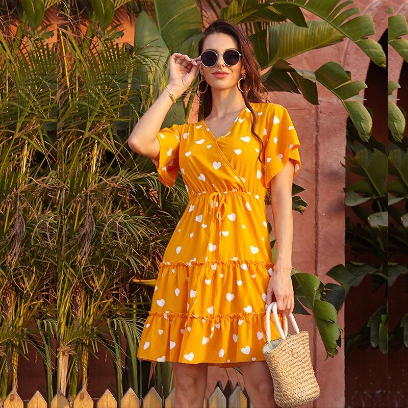 Женское Короткое платье в горошек GUMPRUN, красное повседневное пляжное платье с v образным вырезом и оборками, лето 2020|Платья|   | АлиЭкспресс