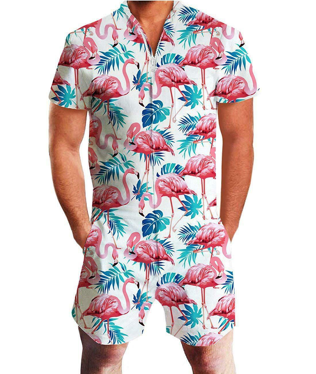 Men 2020 Rompers Short Sleeve Street One Piece Zipper Romper Beach Casual Cargo Pants Jumpsuit Overall Shirt T-Shirt Shorts Set