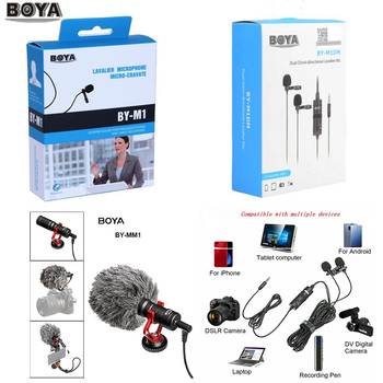 BOYA BY-M1 M1DM BY-MM1 + Dual Omni-directional Lavalier Microphone Short-gun Video Mic for canon nikon iphone Smartphones Camera boya anti shock mount for by mm1 microphone