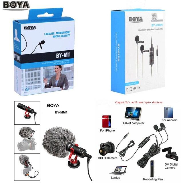 BOYA BY M1 M1DM BY MM1 + Dual Omni direzionale Microfono Lavalier Breve gun Video Mic per canon nikon iphone smartphone Macchina Fotografica