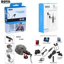 BOYA BY M1 M1DM BY MM1 + Micrófono Lavalier omnidireccional Dual, micrófono de vídeo de pistola corta para cámara de teléfonos inteligentes canon, nikon, iphone