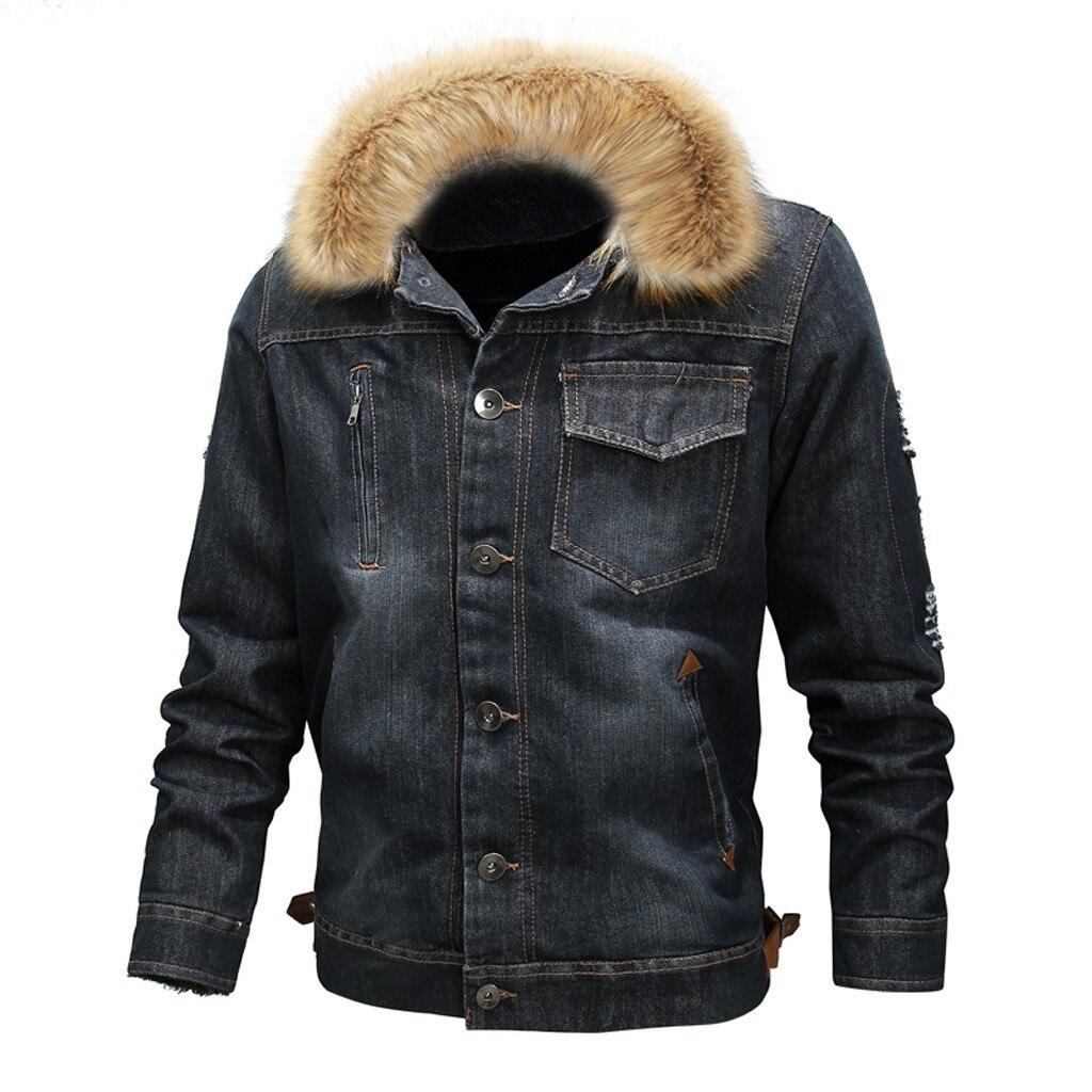 Hommes cou automne hiver Vintage en détresse Demin veste hauts manteau Outwear grande taille laine Liner plus épais hiver Denim vestes Y930