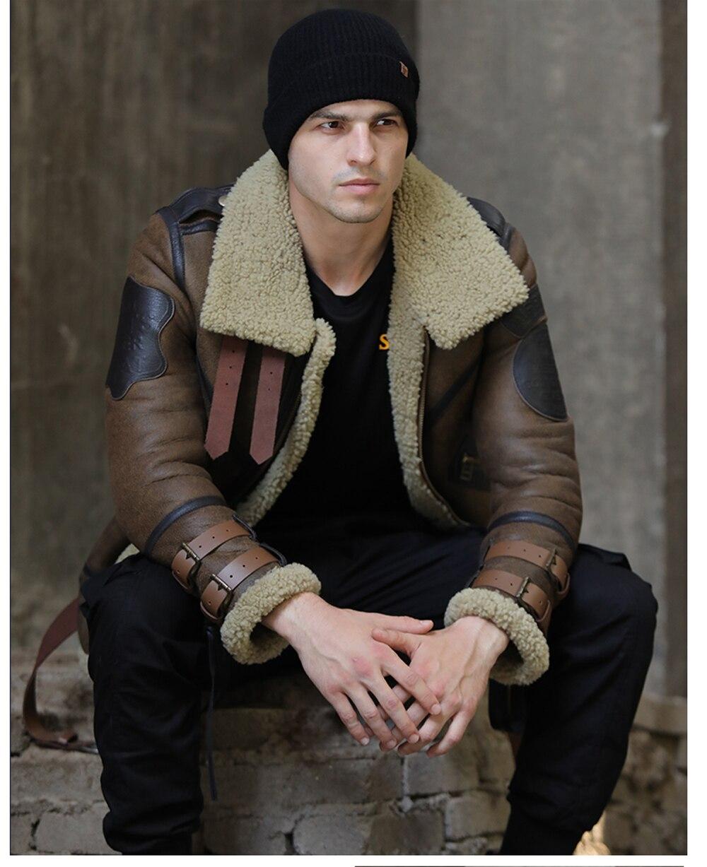 H2736f82728e14680ad53f24a4f4a7657I 2019 Fashion 100% Quality Real Sheepskin Fur Men Coat Genuine Full Pelt Sheep Shearling Male Winter Jacket Brown Men Fur Outwear