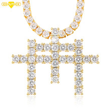 Luxurry AAA CZ Stone Paved Bling Iced Out 3 Cross Pendant Necklace For Men Women With Rope Tennis Chain Gift Box(China)