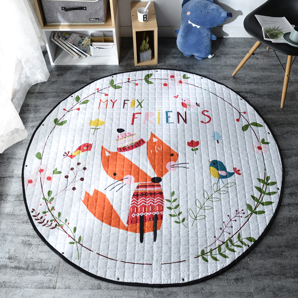 H273729e9c374459399b63164a672285di Kid Soft Carpet Rugs Cartoon Animals Fox Baby Play Mats Child Crawling Blanket Carpet Toys Storage Bag Kids Room Decoration