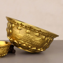 Chinese Feng Shui Decor The Bronze Sculpture Cornucopia Carved Metal bowl Handicraft Home Decoration