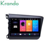 Krando Android 9.0 10.1 IPS Big Screen Full touch car Multimedia player for Honda Civic 2012 2013 navigation system No 2din DVD
