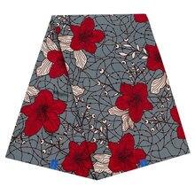 Чистый хлопок африканская настоящая голландская восковая Ткань 6 ярдов африканская ткань новая красная Цветочная печать серая ткань для вечерние платья