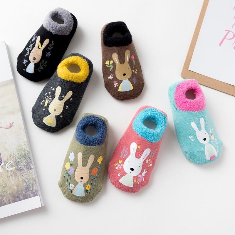 33Colors Cotton Winter Socks Kids Baby Boys Girls 1-12Y Slip-resistant Floor Socks Rubber Cartoon Infant Animal Sock Thicken