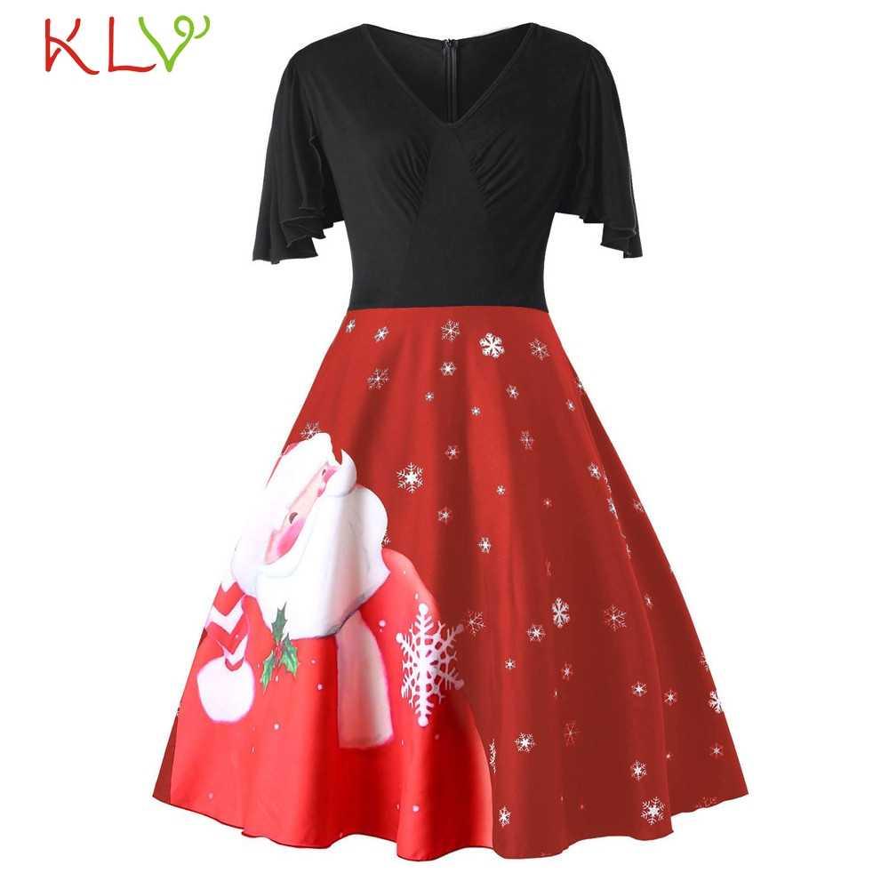 Sukienka świąteczna 5XL Vintage dekolt w szpic drukuj nowy rok 2020 suknia wieczorowa elegancka damska sukienka zimowa Plus rozmiar 19 września