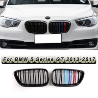 2Pcs ABS Front Kidney Grill Grillefor BMW 5 Series GT 2013-2017 Double Slat Line Gloss Black M Color