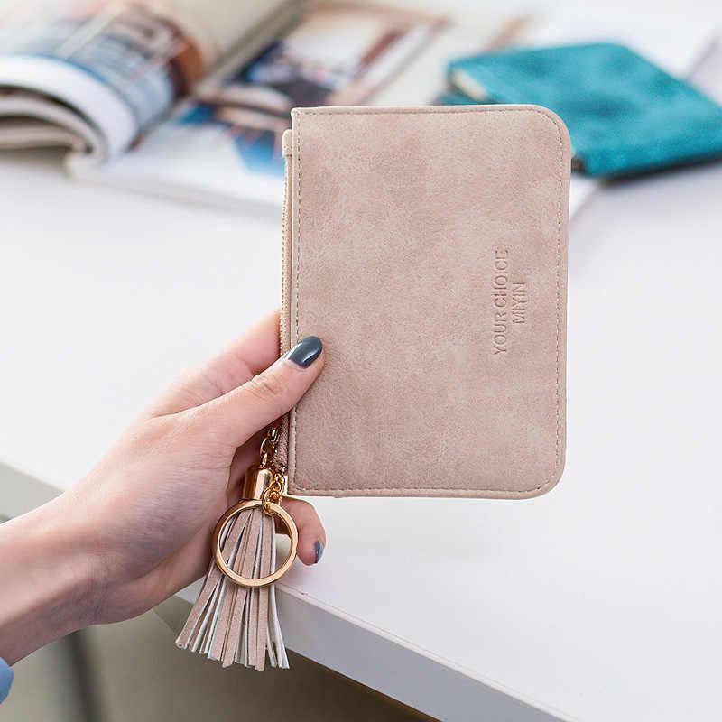 Monety kiesy skórzane kobiety krótki zamek błyskawiczny Tassel Student śliczne mini portmonetka mały portfel brelok etui portfele Porte Monnaie Femme
