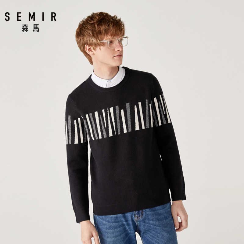SEMIR ชายเสื้อกันหนาว 2019 ฤดูหนาวใหม่ปลอมสองวิทยาลัยลมเสื้อกันหนาวเสื้อแฟชั่น Jacquard