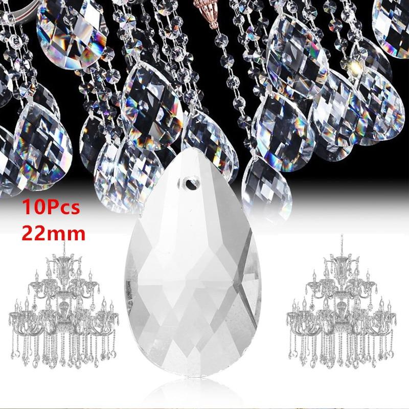 10Pcs Transparent Tear Drop Chandelier Crystal Pendants Light Prisms Ceiling Lamp Lighting Accessory Decoration DIY Jewelry Ball