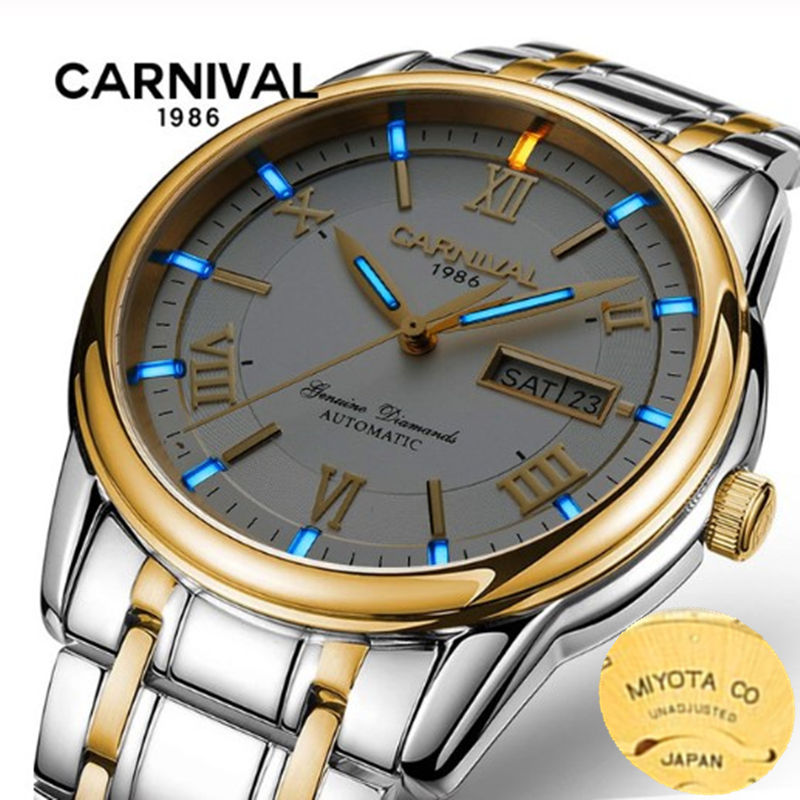 MIYOTA T25 tritium luminous watch men TOP brand luxury Double calendar automatic mechanical watches men waterproof montre homme-in Mechanical Watches from Watches    1