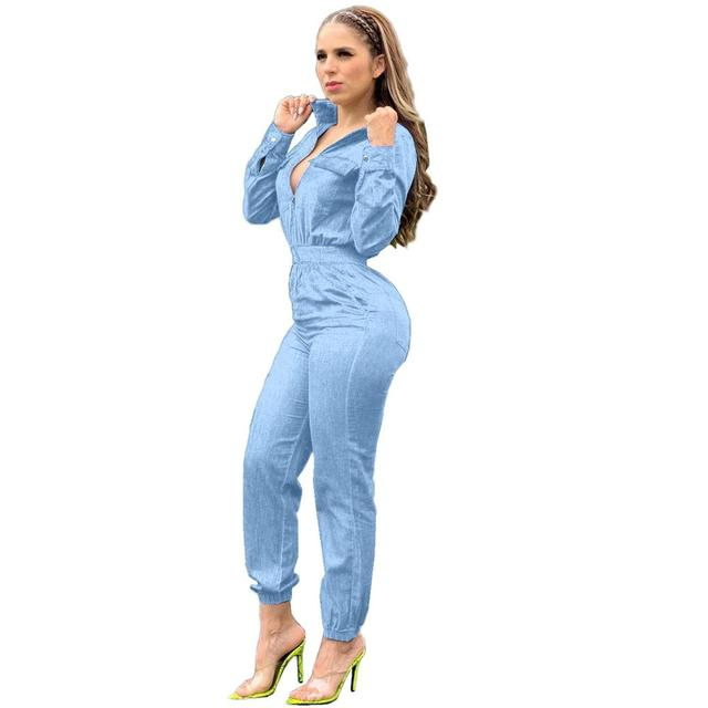Adogirl Spring Women Long Sleeve Jeans Denim Jumpsuit Casual Zipper Up Deep V Neck Jeans Rompers Sexy Streetwear Outfit Overalls 2