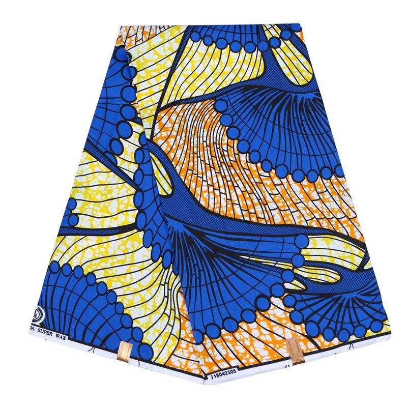 2019 Real Dutch Wax Blue Print Fabric 100% Polyester African Real Dutch Wax 6Yard\set