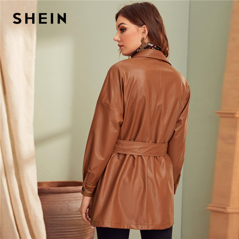 SHEIN Brown Flap Pocket Front Faux Leather Belted Coat Women Spring Winter Solid Long Sleeve Casual Outwear PU Coats 2