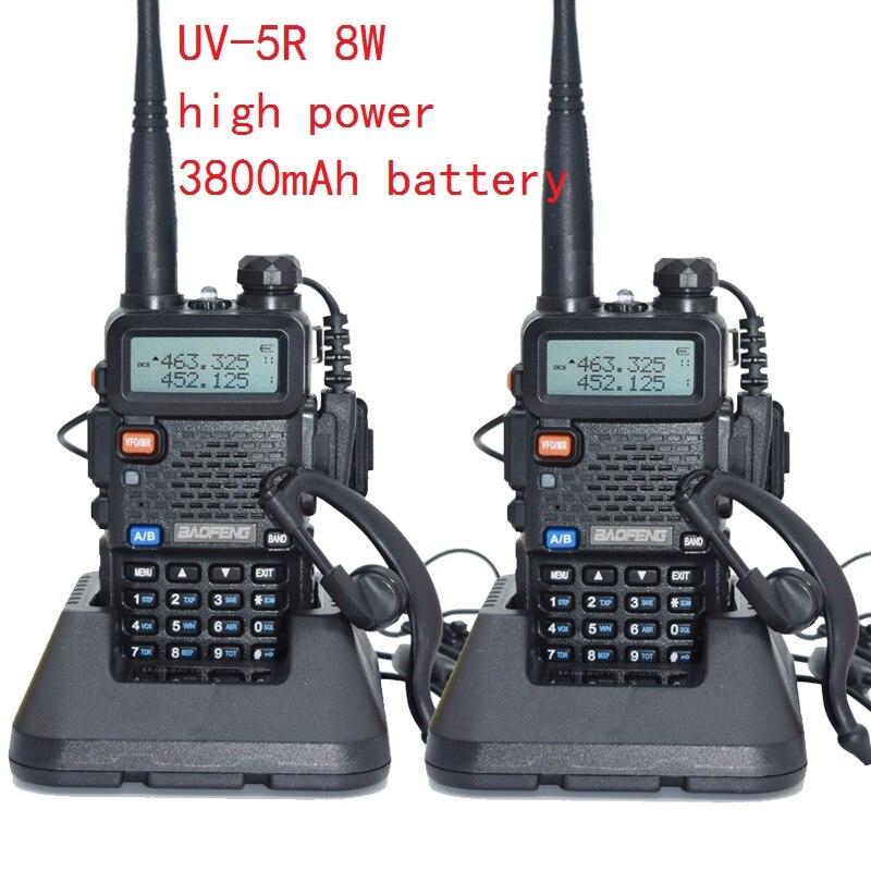 2pcs UV-5r High Power Real 8W 3800mAh Radio Baofeng Walkie Talkie CB RadioTwo Way Radio Communicador For Baofeng Ham Raido Uv5r
