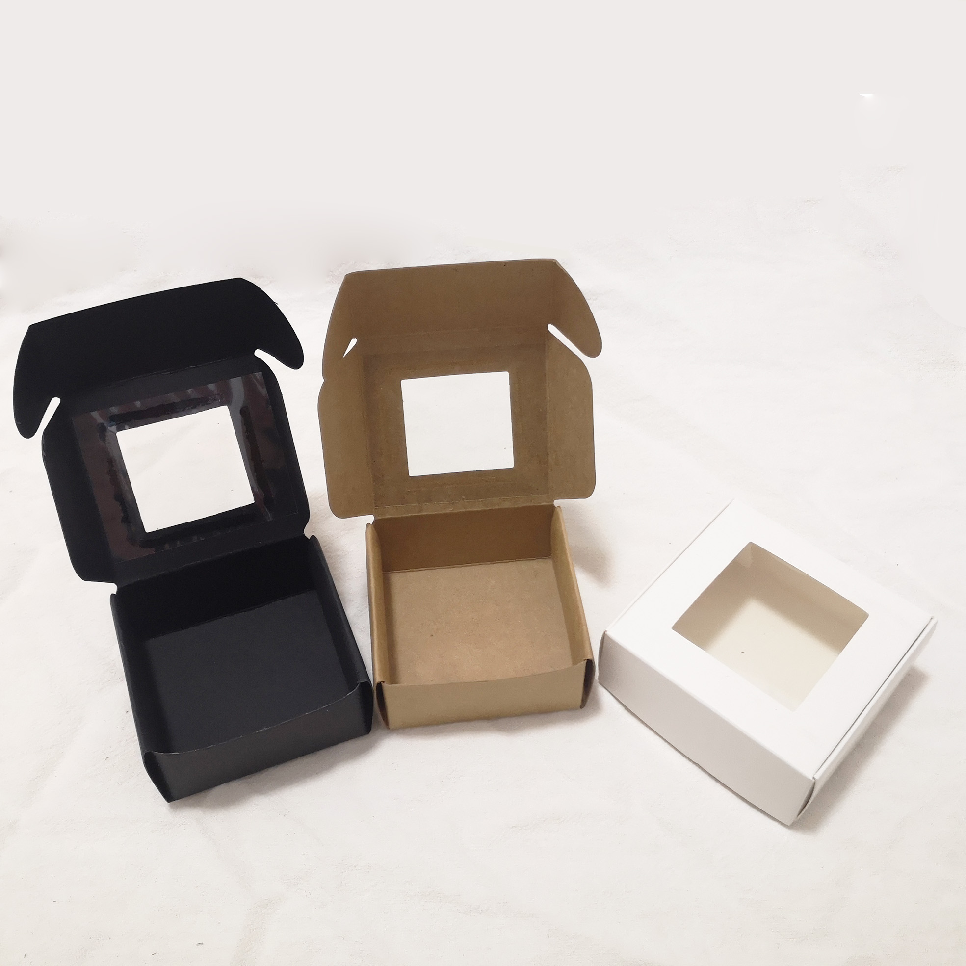 10pcs/lot Small Kraft Paper Packaging Box With Window,cardboard Handmade Soap Box,mini Personalized Craft Paper Jewelry Gift Box