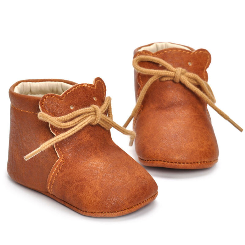 Lovely Little Brown Bear Shape Leather Boots Newborn Baby Boy Girl Crib Shoes Toddler Soft Sole Leather Sneakers Prewalker