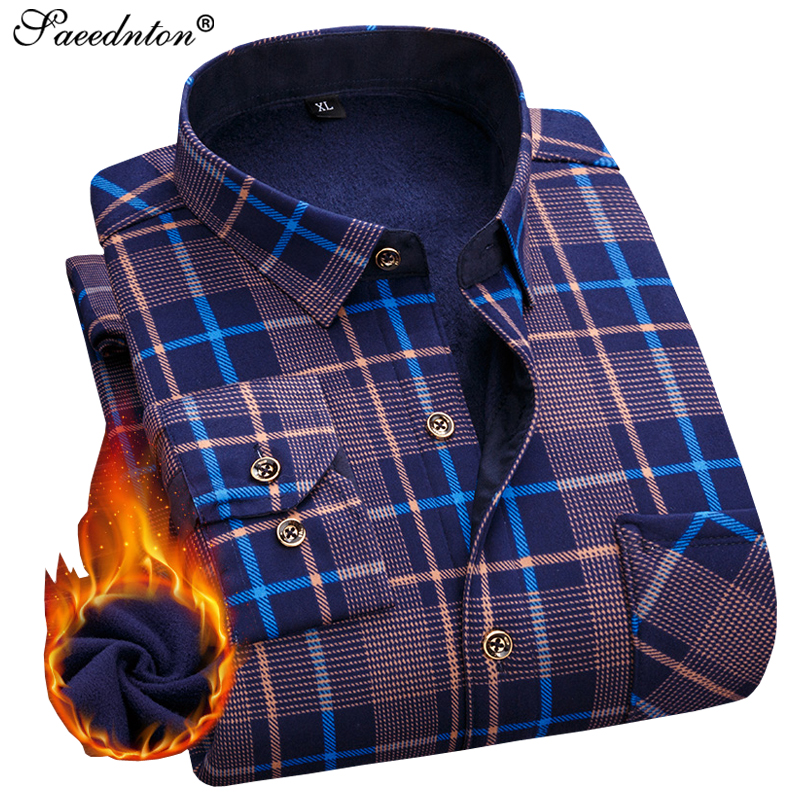 Men Winter Shirts Long Sleeve 2019 Men's Cotton Business Casual Plaid Dress Shirts Velvet Warm Camisa Social Masculina Size 4XL