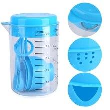 7 шт./компл. синий Пластик мерный стаканчик Кухня измерительный инструмент наборы ложек для Кухня выпечки Кофе Градуированные ложки maatbeker