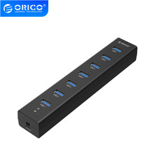 ORICO H7013 U3 AD HUB USB 3,0 de 7 puertos con adaptador de corriente 5V2A alta velocidad Negro