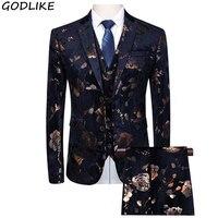 2019 Flower Blue Mens Dress Suits Prom Set Costume Smoking Coat Slim Fit Wedding Suits For Men Groom Tuxedos 6XL 5XL