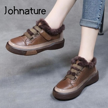 Women Shoes Mixed-Colors Flat Retro Winter Genuine-Leather New Plush Johnature with Round-Toe