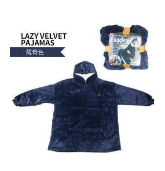 Winter Outdoor Hooded Pocket Blankets Warm Soft Hoodie Slant Robe
